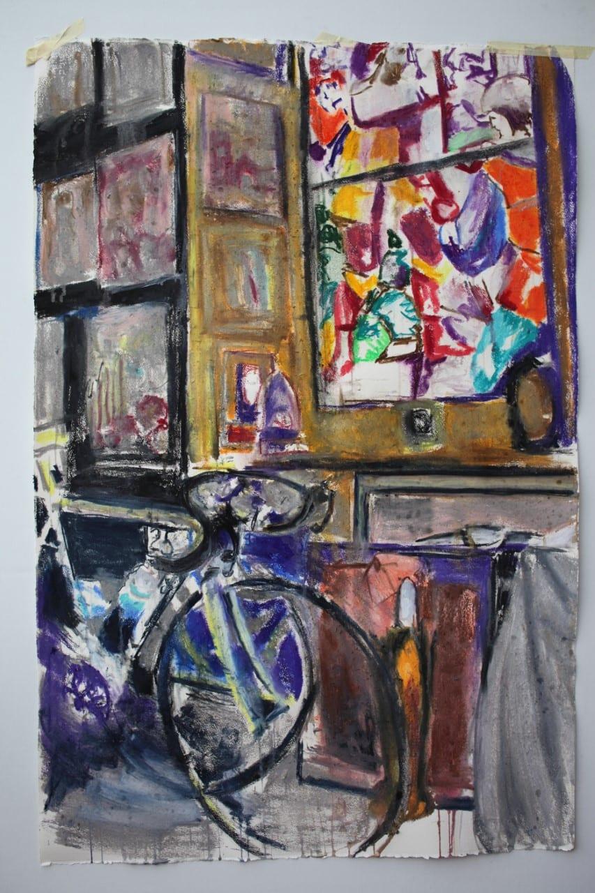 """<span class=""""rodt"""">Weekendavisen fik kunstner til at male cykelløb:</span> """"Det er udfordrende ad helvede til"""""""