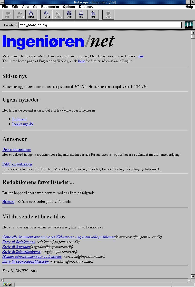 Tilfælde at Danmarks første nyhedssite blev på world wide web 1