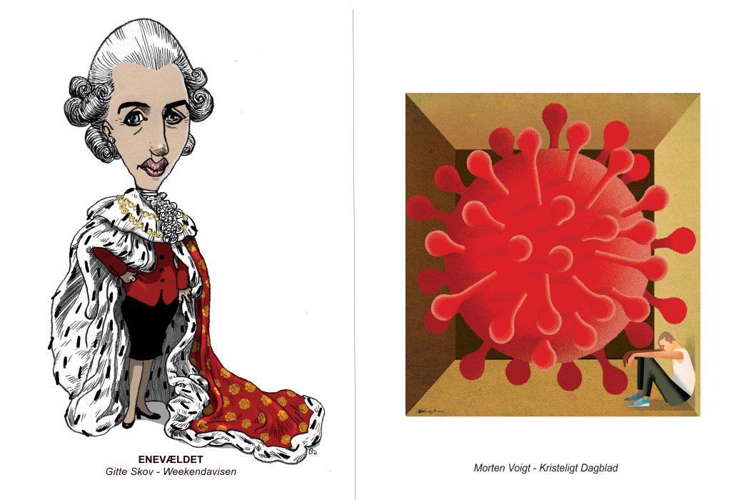 Mette som enevældig hersker og corona som kæmpepartikel – sådan så 20 tegnere pandemien